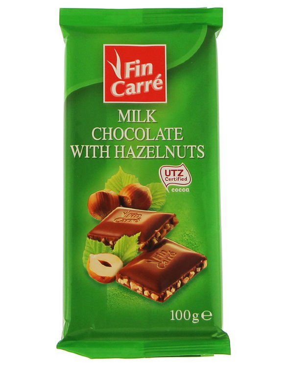 Шоколад Finn Carre Milk Chocolate Hazelnuts, 100 гр.